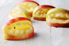 Creative homemade healthy snacks for Halloween Stock Images