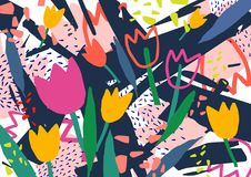 Creative horizontal backdrop with tulip flowers and colorful abstract stains and scribble. Bright colored decorative royalty free illustration