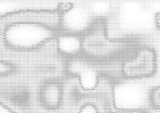 Creative horizontal halftone background with unevenly distributed dots in black and white colors. Modern grunge gradient stock illustration