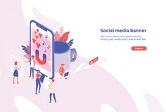 Creative horizontal web banner template with tiny people and giant smartphone. Social media and network tools for. Internet promotion and advertisement. Modern vector illustration