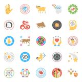 Creative Horoscope, Numerology and Astrology Flat Icons Royalty Free Stock Images