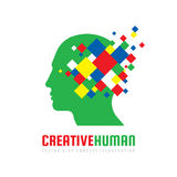 Creative human head - vector logo template concept illustration. Abstract design geometric elements. Modern digital technology. Stock Photography