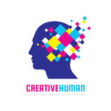 Creative human head - vector logo template concept illustration. Abstract design geometric elements. Modern digital technology. Royalty Free Stock Photography