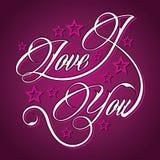 Creative I Love You greeting. Vector illustration Stock Photos