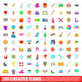 100 creative icons set, cartoon style. 100 creative icons set in cartoon style for any design vector illustration Royalty Free Stock Photos