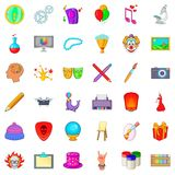Creative icons set, cartoon style Stock Image