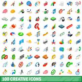 100 creative icons set, isometric 3d style. 100 creative icons set in isometric 3d style for any design illustration royalty free illustration