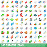 100 creative icons set, isometric 3d style. 100 creative icons set in isometric 3d style for any design vector illustration Royalty Free Stock Photos
