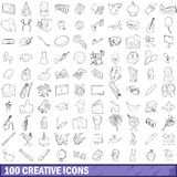 100 creative icons set, outline style. 100 creative icons set in outline style for any design vector illustration Stock Images