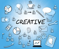 Creative Icons Shows Ideas Imagination And Inventive. Creative Icons Indicating Sign Symbols And Creation Royalty Free Stock Photo