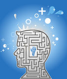 Creative idea. Thinking Head. Concept image. Labyrinth of the mind centered on the idea Royalty Free Stock Photos
