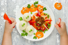 Creative idea for baby dinner or lunch. Funny spider meatball wi Royalty Free Stock Image