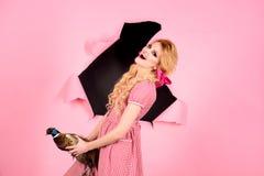 Creative idea. Bird flu. Funny advertising. Crazy girl on pink. Halloween. Halloween holidays and dolls. vintage woman royalty free stock photo