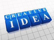 Creative idea in blue cubes. 3d blue cubes with white letters with text - creative idea Stock Photo