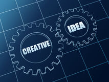 Creative idea in blue gears Royalty Free Stock Photography