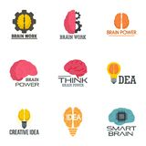 Creative idea brain logo set, flat style. Creative idea brain logo set. Flat set of 9 creative idea brain vector logo for web design royalty free illustration