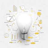 Creative Idea business infographic layout with bulb. Royalty Free Stock Photo