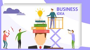 A creative idea came to mind. Search for a creative idea. Light bulb with books on a man`s head. Business. A creative idea came to mind. Search for a creative royalty free illustration