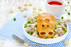 Creative idea for a children's meal - bread in the form of anima Stock Photography