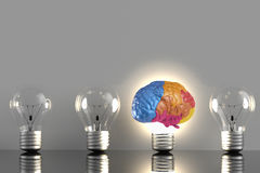 Creative idea with colourful brain. Creative idea with 3d rendering colourful brain and idea lightbulb Royalty Free Stock Photo