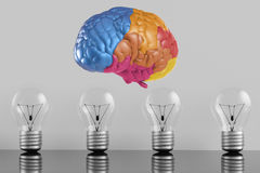 Creative idea with colourful brain. Creative idea with 3d rendering colourful brain and idea lightbulb Stock Photography