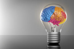Creative idea with colourful brain. Creative idea with 3d rendering colourful brain and idea lightbulb Royalty Free Stock Images
