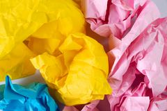 Creative idea concept background with colourful crumbled paper. Ball stock photography