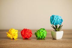 Creative idea concept.Inspiration, New idea and Innovation concept with Crumpled Paper on wood background.  royalty free stock image