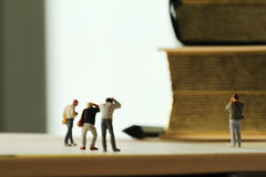 Creative idea concept - miniature photographer Stock Photo