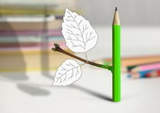 Creative idea concept, pencil with branch and leaves on table. Creative idea concept, pencil with leaves on table Royalty Free Stock Images