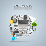 Creative idea of flat collage icons Royalty Free Stock Image