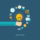 Creative idea flat illustration with hand holding bulb and icons Royalty Free Stock Photos