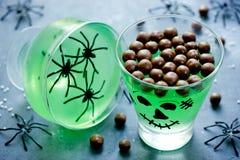 Creative idea for Halloween dessert drink food serving Stock Image