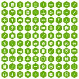 100 creative idea icons hexagon green. 100 creative idea icons set in green hexagon isolated vector illustration Stock Images