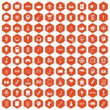 100 creative idea icons hexagon orange. 100 creative idea icons set in orange hexagon isolated vector illustration Royalty Free Stock Photos