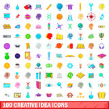 100 creative idea icons set, cartoon style. 100 creative idea icons set in cartoon style for any design vector illustration Stock Photography