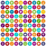 100 creative idea icons set color. 100 creative idea icons set in different colors circle isolated vector illustration Royalty Free Stock Photo