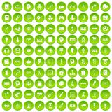 100 creative idea icons set green circle. Isolated on white background vector illustration Royalty Free Stock Photos