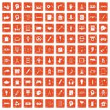 100 creative idea icons set grunge orange. 100 creative idea icons set in grunge style orange color isolated on white background vector illustration Royalty Free Stock Images