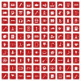 100 creative idea icons set grunge red. 100 creative idea icons set in grunge style red color isolated on white background vector illustration Royalty Free Stock Photos
