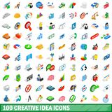 100 creative idea icons set, isometric 3d style. 100 creative idea icons set in isometric 3d style for any design illustration vector illustration