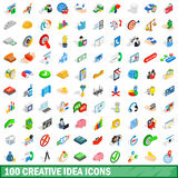 100 creative idea icons set, isometric 3d style. 100 creative idea icons set in isometric 3d style for any design vector illustration Stock Illustration