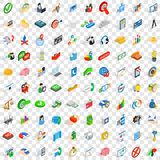 100 creative idea icons set, isometric 3d style Royalty Free Stock Photos