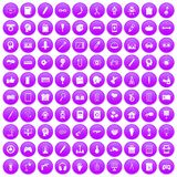 100 creative idea icons set purple. 100 creative idea icons set in purple circle isolated on white vector illustration stock illustration