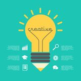 Creative idea  illustration with lamp, pencil, info-graphic, icons. Modern  design element on color background Royalty Free Stock Images