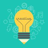 Creative idea  illustration with lamp and pencil. Modern  design element on color background Royalty Free Stock Images