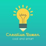Creative idea  illustration with lamp and pencil. Modern  design element on color background Royalty Free Stock Photo