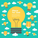 Creative idea  illustration with lamp and pencil. Modern  design element on color background Stock Image