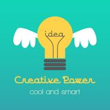 Creative idea  illustration with lamp and wings. Modern  design element on color background Royalty Free Stock Photo