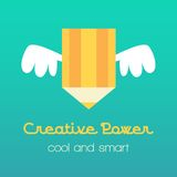 Creative idea  illustration with pencil and wings. Modern  design element on color background Stock Photos